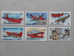 Y205 BAT Brit Antarctic Terr., Gebiete Antarktis 225 - 230 Mnh Hundeschlitten Flugzeug - Ungebraucht