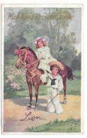 Pretty Edwardian Girl On Pony Kind Remembrance Children Boy Sailor Suit Vintage Postcard - Scenes & Landscapes