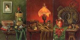 A Gammius Boecker, Nature Morte - Cigarettes Allumettes Table Homme Femme Voyage X 3 Gaufré Embossed - Illustrateurs & Photographes