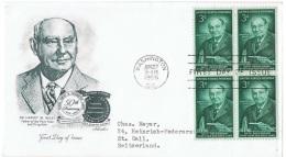 ALIM-L32 - ETATS-UNIS FDC Avec Bloc De 4 Dr. Harvey W./ Wiley 1956 - 1951-1960