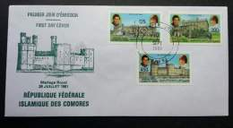 Comoros Royal Wedding 1981 Princess Diana Building (stamp FDC) - Comoros