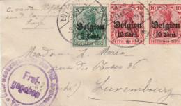 5ct + 10 Ct X 2 Op Briefje Naar G-D LUXEMBOURG 1917, Censuur Trier. - Besetzungen