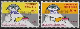 Bangladesh Abart, Varity, Michel-Nr. 72-73 **, Blindheit, Scott No. 109-110 MNH, Blindness, SPECIMEN Aufdruck, Länge 24m - Bangladesh