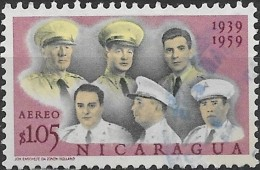 NICARAGUA 1961 Air. 20th Anniv Of Nicaraguan Military Academy - 1cor 5 Group Of Officers FU - Nicaragua