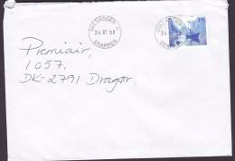 Norway A PRIORITAIRE Par Avion Label GULSKOGEN Drammen 1998 Cover Brief Denmark Ship Schiff Stamp - Norwegen
