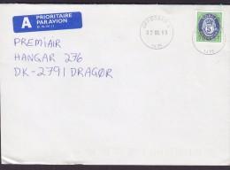 Norway A PRIORITAIRE Par Avion Label OPPEGÅRD 1999 Cover Brief Denmark Posthorn Stamp - Norwegen