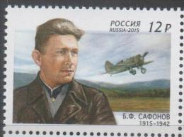 RUSSIA , 2015, MNH, PLANES, FIGHTER PLANES, WWII, PILOTS, BORIS SAFOROV,1v - WW2