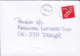 Norway SKJELSVIK 1999 Cover Brief Denmark Invention Paper Clip Stamp - Norwegen