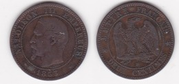 2 CENTIMES NAPOLEON III TETE NUE 1853 BB  (voir Scan) - B. 2 Centimes