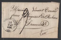 RIBAUVILLE - (RIBEAUVILLE) - HAUT RHIN / 1838 CACHET TYPE 13 SUR LAC POUR DRUCOURT - EURE / Cote 25 € (ref 3223) - Marcophilie (Lettres)