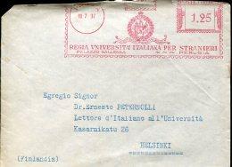 10904 Italia, Red Meter/freistempel/ema/affrancatrice Rossa/ 1937 Perugia Regia Università Stranieri,  Cover Circuled - Affrancature Meccaniche Rosse (EMA)