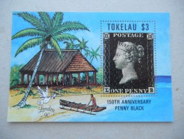 Y244 Tokelau Block 1 Mnh - LONDON 90 - One Penny Black - Tonga (1970-...)