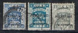 Lote 3 Sellos PALESTINE, Paid E.E.F., Sobrecarga  3 Y 13 Mil Y 1 Pi º - Palestina