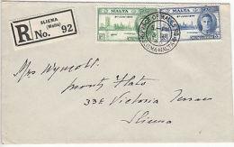 Malta: Registered Cover No92, Prince Of Wales Road, Sliema To Sliema, 3 Dec 1946 - Malta (...-1964)