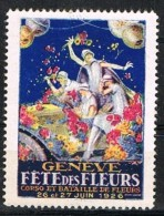 Viñeta GENEVE, Suiza, Label, Cinderella, Fetes Des Fleurs * - Abarten