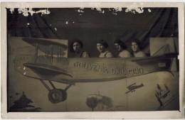 """MILITARIA CORSE DU SUD De Type Carte Photo Bromure : """" Souvenir D' AJACCIO """" - Photomontage Surréalisme Avion Militaires - Ajaccio"""