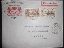 Algerie , Lettre De Bougie 1939 Pour Paris - Algeria (1924-1962)