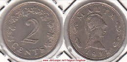 MALTA 2 CENTS 1972  (Queen Of The Amazons) - KM#9 - Used - Malta