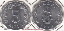 MALTA 5 Mils 1972 (Lira) KM#7 - Used - Malta