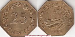 MALTA 25 CENTS 1975 (Lira) KM#29 - Used - Malta