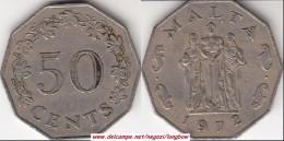MALTA 50 CENTS 1972 (Lira) KM#12 - Used - Malta