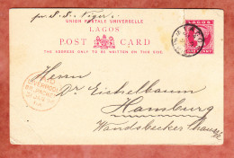 Lagos, Ascher P 7, Per S.S. Niger Ueber Liverpool Nach Hamburg, Roter Paid-Stempel 1896 (46167) - Andere