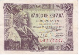 BILLETE DE ESPAÑA DE 1 PTA DEL 15/06/1945 ISABEL LA CATÓLICA SERIE L CALIDAD MBC (BANK NOTE) - [ 3] 1936-1975 : Régence De Franco