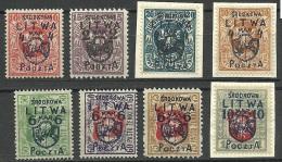 Mittellitauen Central Lithuania 1920 Michel 4 - 11 */(*) - Litauen
