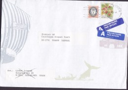 Norway A PRIORITAIRE Par Avion Label SANDEFJORD 1997 Cover Brief Denmark Strawberry Posthorn Whale Wal Wiking Cachet - Norwegen