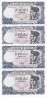 4 BILLETES CORRELATIVOS DE 500 PTAS DEL 23/07/1971 SERIE 1A  SIN CIRCULAR-UNCIRCULATED - [ 3] 1936-1975 : Regency Of Franco