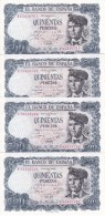4 BILLETES CORRELATIVOS DE 500 PTAS DEL 23/07/1971 SERIE 1A  SIN CIRCULAR-UNCIRCULATED - [ 3] 1936-1975 : Régimen De Franco