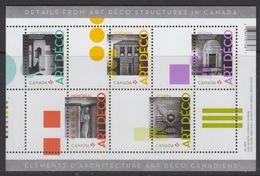 "CANADA 2011, #2471, ARCHITECTURE:ARTS DECO, SS 5 ""P"" STAMPS MNH - Blocs-feuillets"
