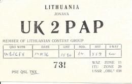 Amateur Radio QSL Card - UK2PAP - Lithuania - 1976 - Radio Amateur