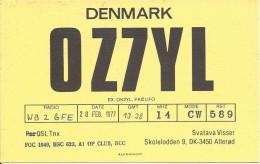 Amateur Radio QSL Card - OZ7YL - Denmark - 1977 - Radio Amateur