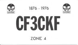 Amateur Radio QSL Card - CF3CKF - St. Catharines, ON Canada - 1976 - Centennial - 2 Scans - Radio Amateur