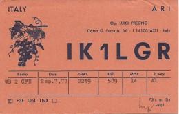 Amateur Radio QSL Card - IK1LGR - Italy - 1977 - ARI 50th Anniv Prefix - Radio Amateur