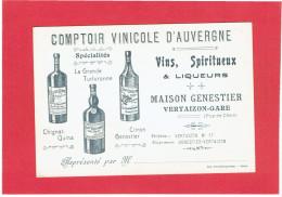 VERTAIZON GARE CARTE REPRESENTANT MAISON GENESTIER COMPTOIR VINICOLE D AUVERGNE EN SUPERBE ETAT - France