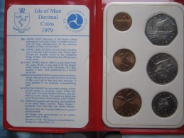 Isle Of Man 1979 6 Coin Set 1/2 - 50 Pence UNC Tynwald Millennium Red Wallet - Regional Coins