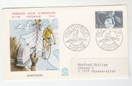 1980 FRANCE FDC Illus CYCLE RACE On TV BROADCASTING   Cycling Bicycle Bike Sport Television Cover Camera - Cyclisme