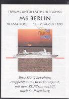 "MS ""Berlin"", Das ZDF-Traumschiff, Ostseekreuzfahrt-Prospkt 1999 - Schiffe"