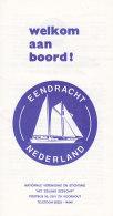 """Faltblatt Welkom Aan Boord! Tall Ship """"Eendracht"""", Niederlande, Um 1985 - Schiffe"""