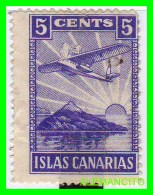 ESPAÑA  ISLAS CANARIAS   ( EUROPA ) VIÑETA DE LA GUERRA CIVIL VALOR 5 Ctms: - 1931-50 Oblitérés