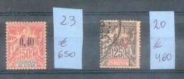 INDE FRANCAISE YVERT NRS. 20 OBLITERE ET 20 MH COTATION YVERT 1110 EUROS VOIR SCANS - LE NR. 20 AVEC SIGNATURE D´EXPERT - Used Stamps