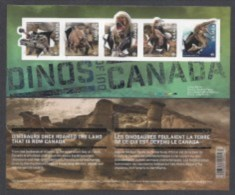 CANADA 2015,# 2823,  DINOS In Canada SS 5 Stamps, 3D Effect,  Mnh - Blocs-feuillets
