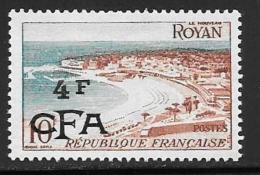 Reunion, Scott # 302 Mint Hinged France # 721 Surcharged, 1954 - Réunion (1852-1975)