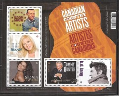 CANADA, 2014 # 2765, CANADIAN COUNTRY ARTISTS. SS MNH - Blocs-feuillets