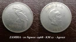 ZAMBIA - 10 Ngwee -1968 - KM 12  - Agouz - Zambie