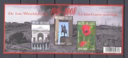 Belgium**1ST WORLDWAR 1914-14-SHEET 3vals-2008-POPPY FLOWER-YPRES LAST POST-MNH-Military-Militaria - Ongebruikt