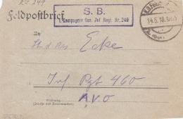 Feldpost WW1: Reserve Infanterie Regiment 249 To Infanterie Regiment 460 P/m 14.5.1918 - Letter Inside (SKO9-80A) - Militaria