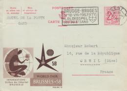 Carte  Entier  Postal   BELGIQUE     Exposition  Universelle  BRUXELLES   1958